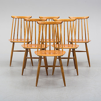 "ILMARI TAPIOVAARA, 6 birch and teak chairs ""Fanett""."
