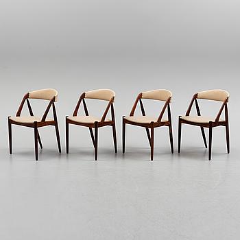 """KAI KRISTIANSEN, stolar, 4 st, """"Pige"""", Danmark, 1960-tal."""