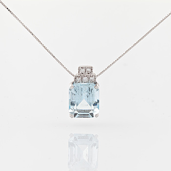 COLLIER, med fasettslipad akvamarin  ca 5.00 ct och briljantslipade diamanter totalt ca 0.05 ct.