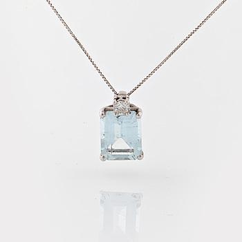 COLLIER, med fasettslipad akvamarin  ca 2.00 ct och briljantslipad diamant ca 0.05 ct.