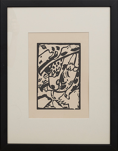 Wassily kandinsky, woodcut with printed signature