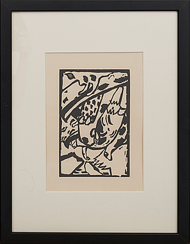 WASSILY KANDINSKY, woodcut with printed signature.