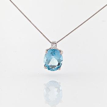 COLLIER, med fasettslipad akvamarin ca 2.00 ct och briljantslipad diamant ca 0.03 ct.