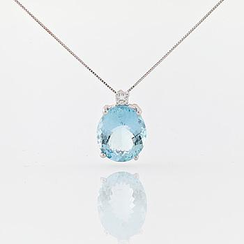 COLLIER, A faceted aquamarine and brilliant cut diamond pendant.