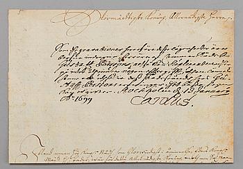 KUNGLIGT BREV undertecknat Carl XII.