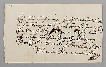 KUNGLIGT BREV från Maria Eleonora.