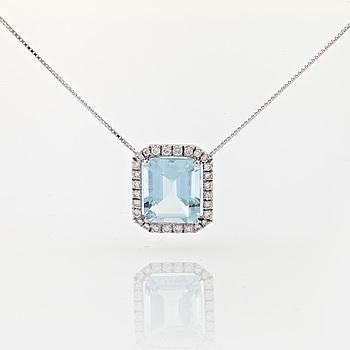 COLLIER, med fasettslipad akvamarin ca 6.00 ct och briljantslipade diamanter ca 0.40 ct.