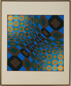 VICTOR VASARELY, coloured lithograph, signed, no 120/200.