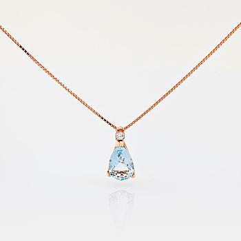 COLLIER, med droppslipad akvamarin totalt ca 4.00 ct samt briljantslipad diamant ca 0.05 ct.