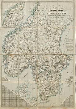 LORENS WILHELM BRANDENBURG, landsvägskarta Sverige & Norge 1843.