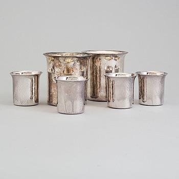 EINAR TELANDER, bägare, sex stycken, silver, 592 gram, 1990-tal.
