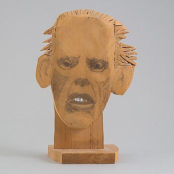 KARL GÖTE (K G) BEJEMARK, skulpturskiss, blandteknik på trä, monogramsignerad KGB.