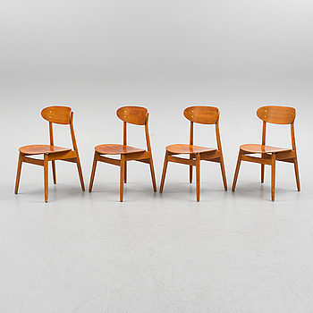 SVEN-ERIK FRYKLUND, four 'Eva' teak chairs from Hagafors Stolfabrik AB, Nässjö, circa 1960.
