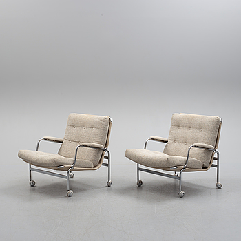 A pair of 'Karin' easy chairs by Bruno Mathsson for Dux, second half of the 20th century.
