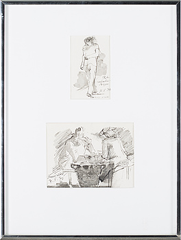 RAGNAR SANDBERG, two drawings, in the same frame, one signed, dated -70 and -71.