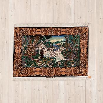 FIGURAL ISFAHAN, part silk, signerad Isfahan Ali Tamizi ca 162 x 107 cm.
