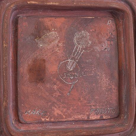 A wilhelm kåge 'farsta' stoneware dish, gustavsberg studio, 1934.