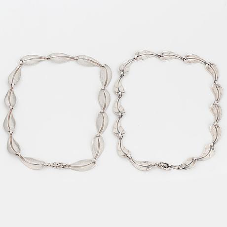 Hermann siersbol, two 20th century silver necklaces, denmark.