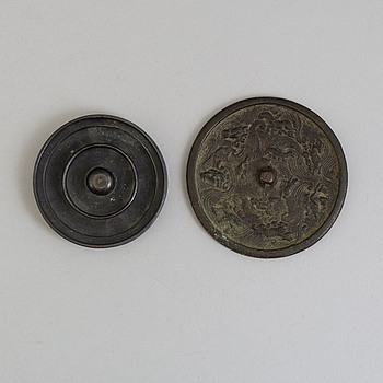 Two bronze mirrors, Ming dynasty (1368-1644).