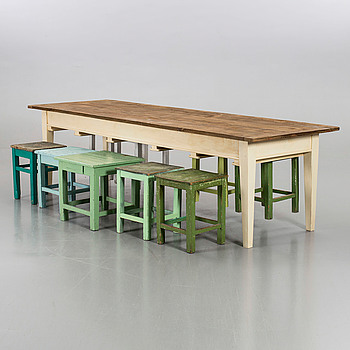 A dining table with 9 stools.