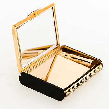 A CARTIER VANITY CASE, 18K gold, enamel, rose cut diamonds. 1930s.