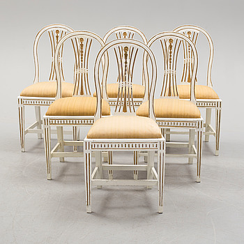 A set of five gustavian chairs and one chair gustavian style.