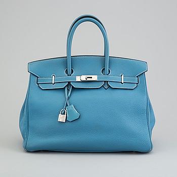 """VÄSKA, Hermès """"Birkin 35 cm"""" Bleu."""