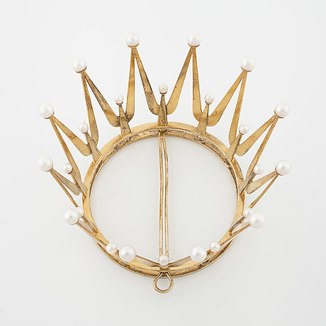 A bridal crown, set with cultured eparls by ceson, göteborg, 1971