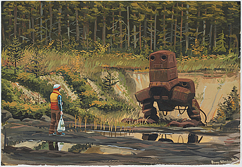 SIMON STÅLENHAG, gouache on paper, signed Simon Stålenhag and dated 2010.