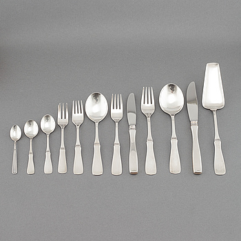"""BESTICKSERVIS, 142 delar, silver, """"Uppsala"""", Mema/GAB, Lidköping, 1976-77."""