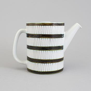 STIG LINDBERG, kaffekanna med lock, fajans, märkt med studiohanden.