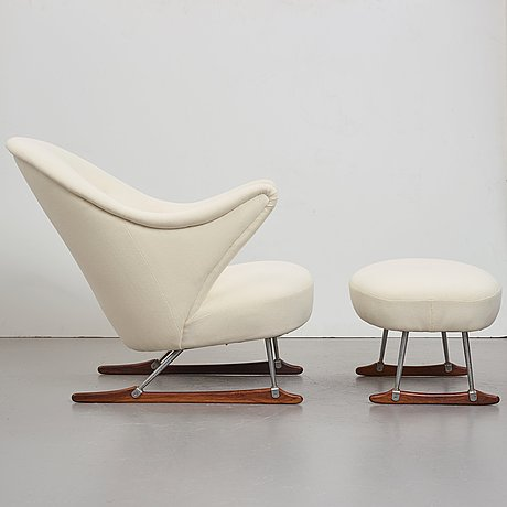 "Børge mogensen, a ""model nr 160"" easy chair and ottoman by tage m christensen & co, denmark 1950's."