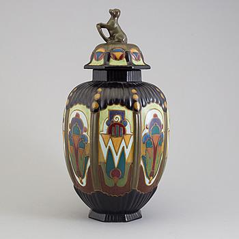 A ceramic lidded vase, Arnhem, Holland, 1930s.