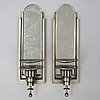 Wall lights, a pair of 1930's white metal and mirror glass