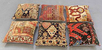"Six Anatolian ""carpet cushions"", around 50 x 50 cm."