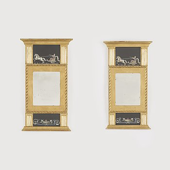 A pair of mirrors, late gustavian-style, early 20th century.