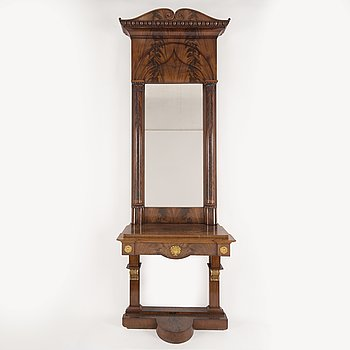 A MIRROR AND CONSOLE TABLE, empire, Stockholm, first half of the 19th century.