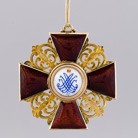 Kunniamerkki, pyhän annan ritarikunta, 1. luokka, kultaa (56) ja emalia, venäjä, 1908-1917.