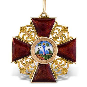 67. An Imperial Russian gold (56) and enamel order of Saint Anne 1st class, 1908-1917.