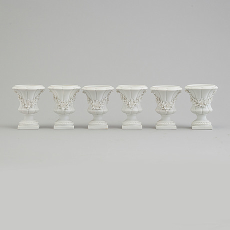 Six bisquit porcelain miniture vases, circa 1900, with sevres like mark.