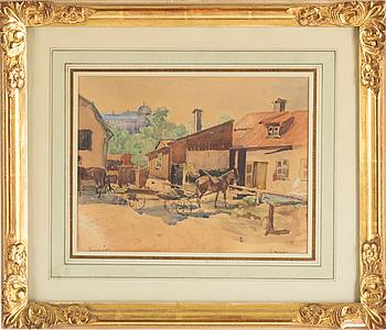 JOHN GEORG ARSENIUS, akvarell, signerad.