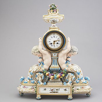 A 19th century porcelain mantle clock, probably France.