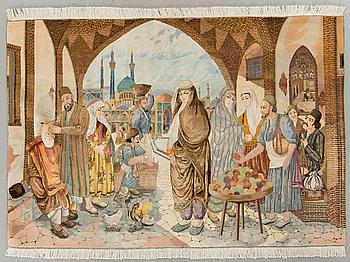 MATTA Täbriz old part silk figural ca 143 x 211 cm.