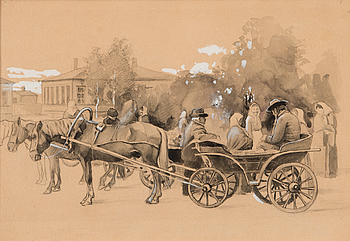 "193. Eero Järnefelt, EERO JÄRNEFELT, ""CARRIAGES ON THE MARKET SQUARE IN HAMINA""."