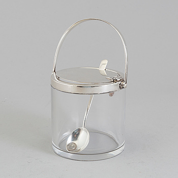 A glass and silver marmelade jar and spoon by Hukin & Heath Birmingham, England, 1934.