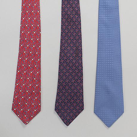 HermÈs, ties, 3 pieces.