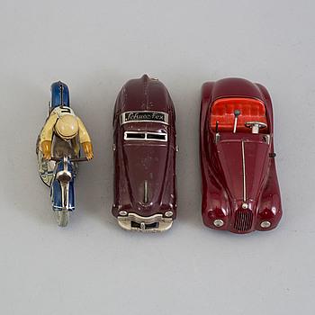 SCHUCO, 2 st bilar samt 1 motorcykel, Tyskland, 1950-tal.