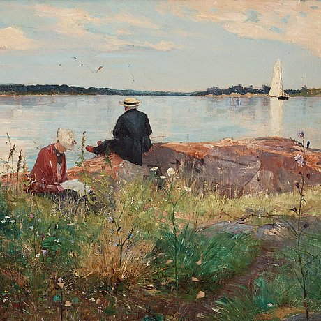 Axel lindman, oil on canvas, signed axel lindman and dated 1886.
