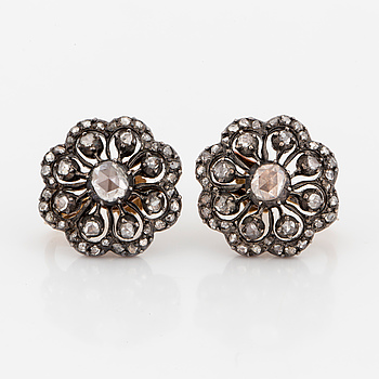 EARRINGS, with rose-cut diamonds.
