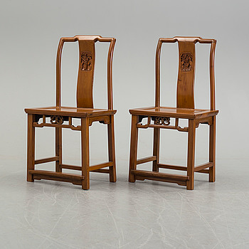 A pair of Chinese chairs, circa 1900.